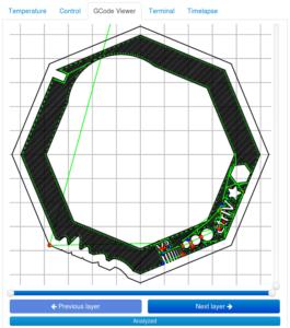 OctoPrint screenshot, gcode viewer tab