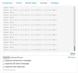 Capture d'écran OctoPrint, onglet terminal