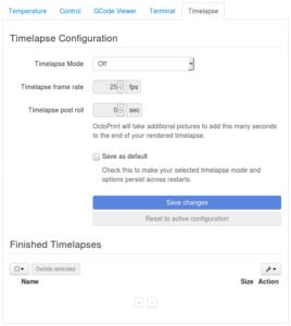 OctoPrint screenshot, timelapse tab